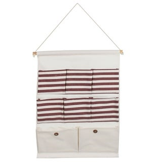 Cotton Linen Stripe Pattern Wall Door Closet Hanging Storage Bag Case Red Beige