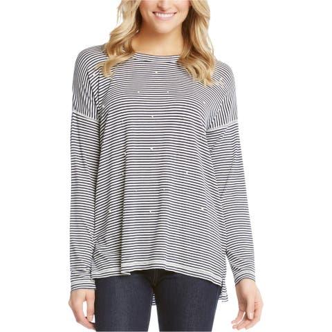 Karen Kane Womens Striped Beaded Embellished T-Shirt, White, Medium