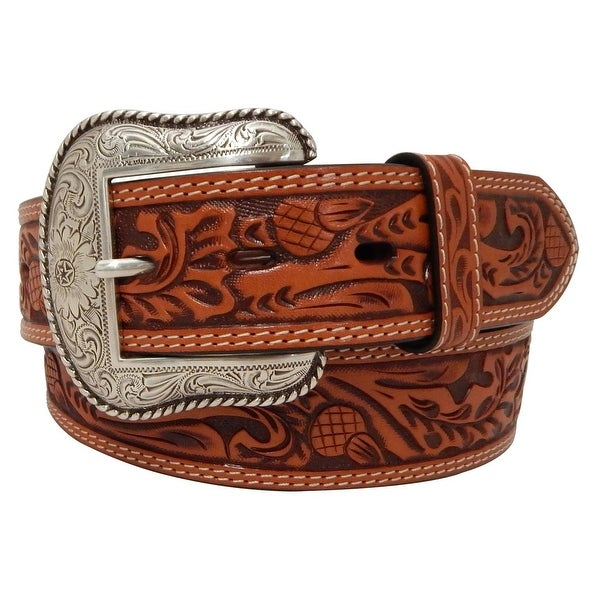 Roper Western Belt Mens Acorn Pattern Genuine Leather Natural