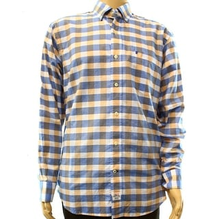 IZOD NEW Blue Orange Mens Size Medium M Check Oxford Button Down Shirt