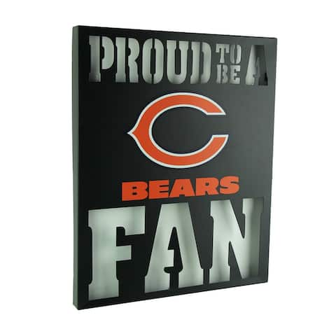 Proud To Be A Chicago Bears Fan Cutout Metal Wall Sign - Black - 14.75 X 12 X 1 inches