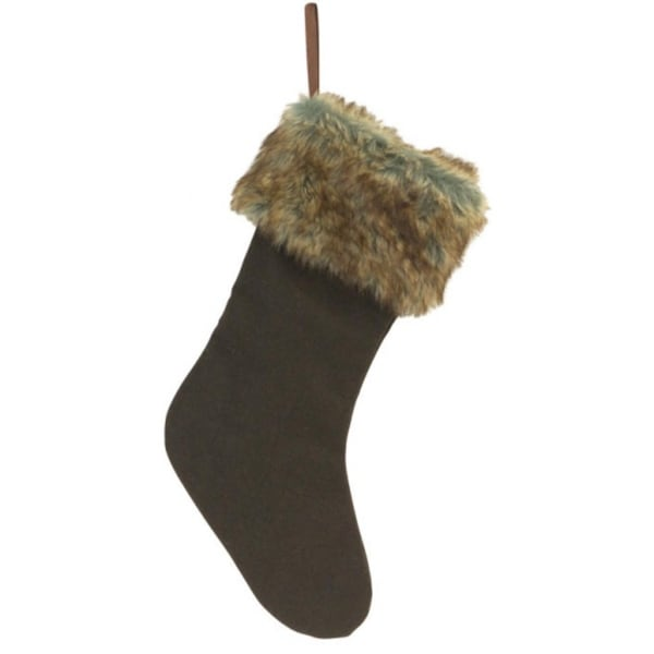 "20"" Country Rustic Style Coffee Brown Christmas Stocking with Sepia Faux Fur Cuff"