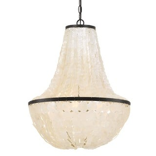 "elight DESIGN ED02606 6 Light 18"" Wide Empire Chandelier with Capiz Shell Strand"