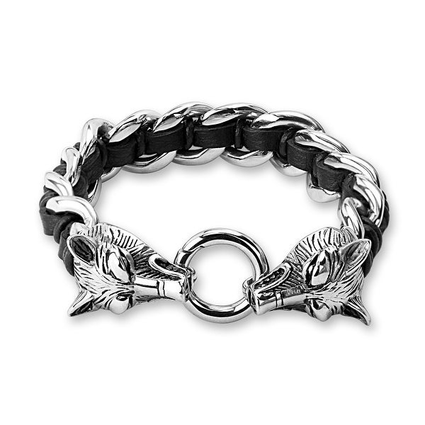 "Stainless Steel Casted Wolves Two Tone Leather and Stainless Steel Bracelet - 8.5"" (Sold Ind.)"