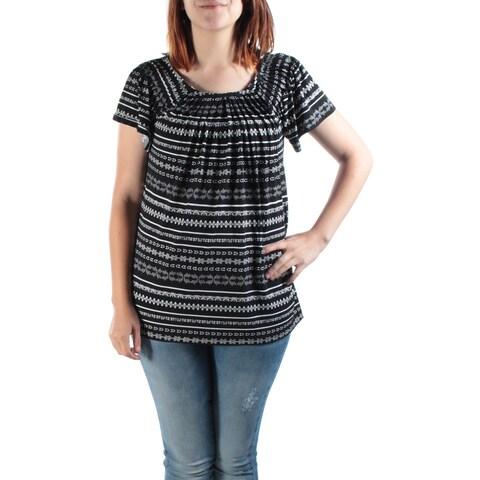 Womens Black, White Geometric Cap Sleeve Jewel Neck Casual Peasant Top Size S