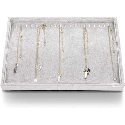 Gray Velvet Jewelry Accessories Necklace Display Tray Organizer Storage 12 Hook