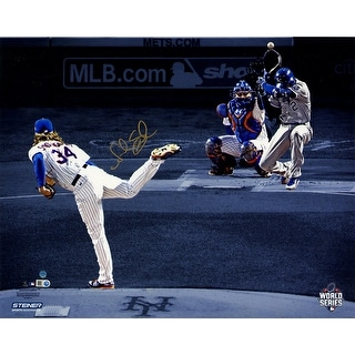 Noah Syndergaard Signed 2015 World Series Game 3 1st Pitch Blue Background 16x20 Glossy Photo