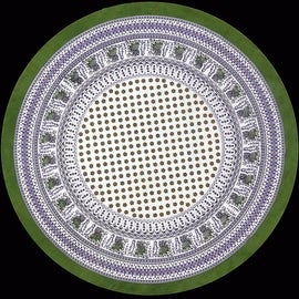 "Handmade 100% Cotton Elephant Mandala Floral 60"" Round Tablecloth Olive Green Purple & Azure Blue Green"