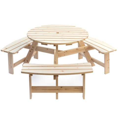 Wooden Outdoor Round Picnic Table with Bench for Patio, 6- Person with Umbrella Hole- Natural