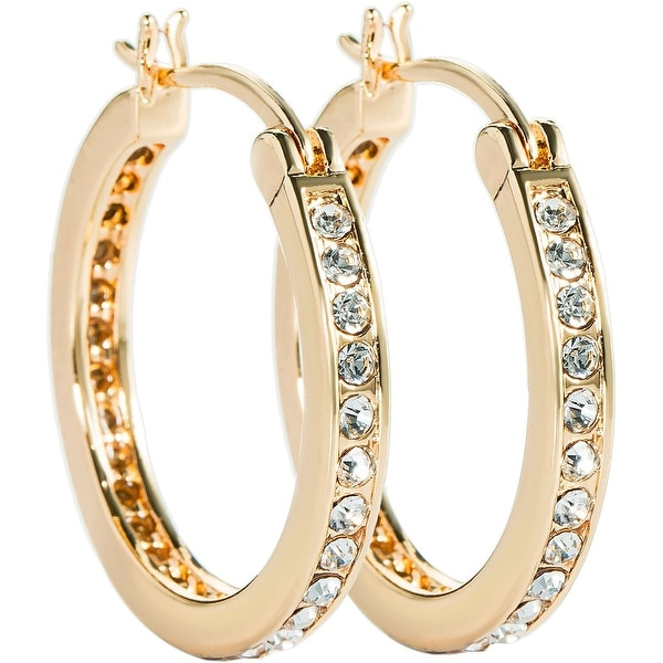 Gold/Silver Overlay Cubic Zirconia Hoop Earrings by Simon Frank Designs. Opens flyout.