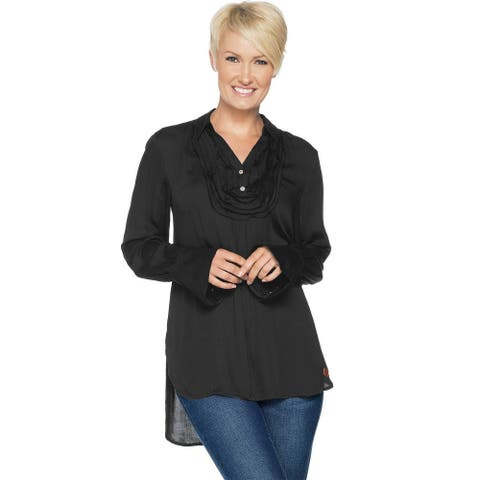 Peace Love World Womens Tuxedo Blouse with Belle Sleeve 14 Black A295083