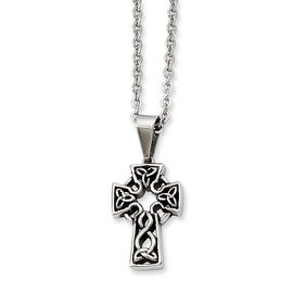 Stainless Steel Antiqued Cross Pendant 18in Necklace (1 mm) - 18 in