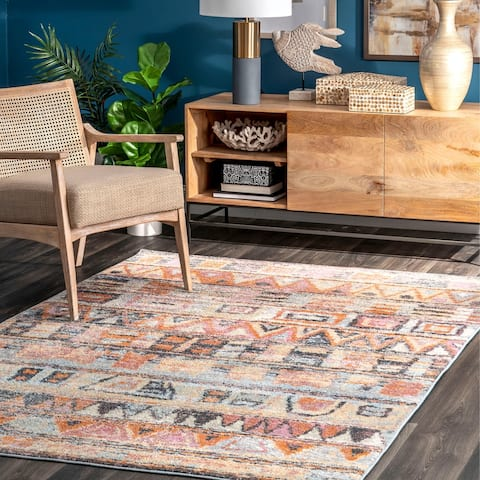 nuLOOM Fading Banded Tribal Solid Area Rug