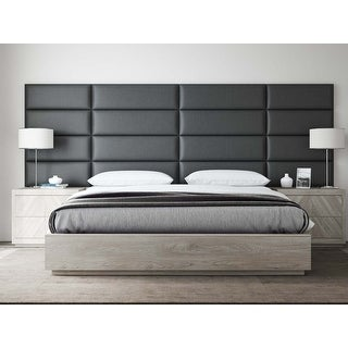 VANT Upholstered Headboards - Accent Wall Panels - Vintage Leather Jet Black -  Twin - King Size Headboard - Set of 4 panels