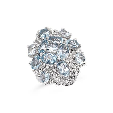925 Sterling Silver 4 1/8 Carat Genuine Aquamarine Cocktail Ring For Women (Size : 6)