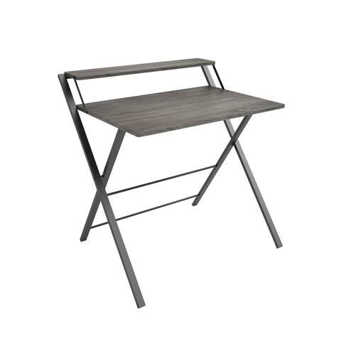 Core Gray Oak/Black Two-Tier Folding Desk