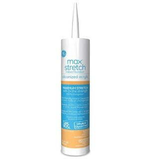 GE M90047 Max Stretch Siliconized Acrylic Caulk, 10.1 Oz, Grey