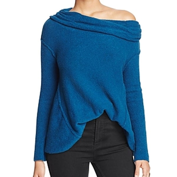 Shop Free People New Blue Womens Size Xs Off Shoulder Cowl Neck