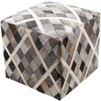"""18"""" Cedar Brown and Horizon Gray Houndstooth Wool Square Pouf Ottoman"""