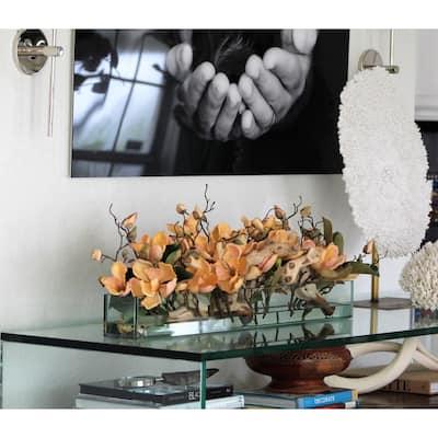 Casa Moderna glass plate planter with magnolias