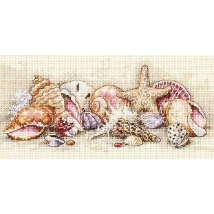 "Gold Petite Seashell Treasures Counted Cross Stitch Kit-8""X4"" 18 Count"