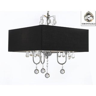 Modern Contemporary Crystal Chandelier With Large Square Black Shade And Crystal Balls!