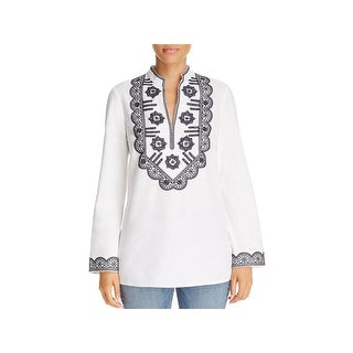 Tory Burch Womens Tunic Top Sequined V Neck
