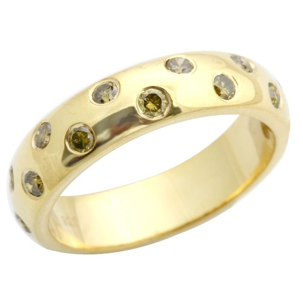 Beaitiful 0.50 Carat Bezel Set Yellow Diamond Wedding Band Ring