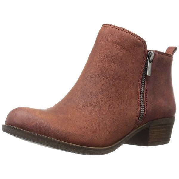 Lucky Brand Womens Basel Leather Almond Toe Ankle Cowboy Boots