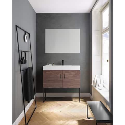"""VEEMON 36"""" Walnut/Pine Mist Dual Mount Modern Bathroom Vanity Set"""