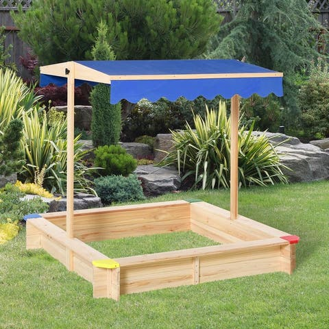 """Outsunny Wooden Sandbox w/ Adjustable Canopy, Children Outdoor Playset Weather Resistant 47"""" L x 47"""" W x 47"""" H, Natural & Blue"""