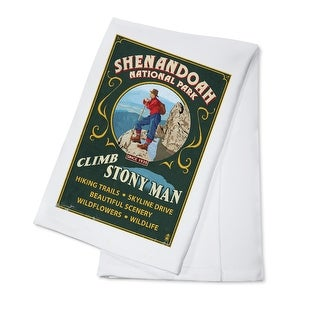 Shenandoah National Park, Virginia - Climb Stony Man Vintage Sign - Lantern Press Artwork (100% Cotton Towel Absorbent)