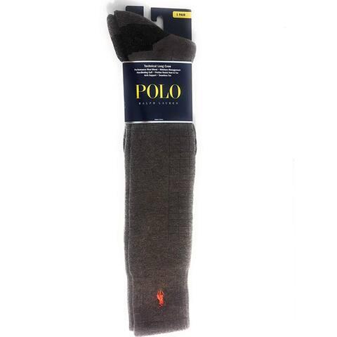 Polo Ralph Lauren Men's Technical Support Socks, Bark Heather, 10-13