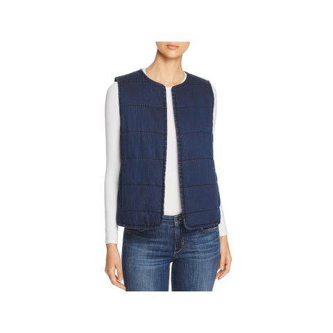 Eileen Fisher Womens Petites Denim Vest Quilted Open Front - PS/PP