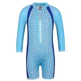 Sun Emporium Little Boys Blue Tee Pee Print UPF50+ Protective Sun Suit