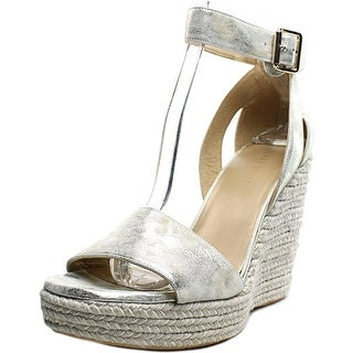 Stuart Weitzman Mostly Platform Wedge Open Toe Leather Wedge Sandal