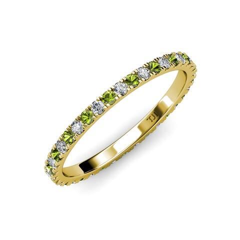 TriJewels Peridot Diamond 7/8 ctw Womens Eternity Ring 14K Gold
