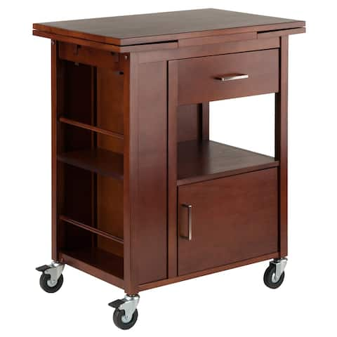 "33.25"" Walnut Elegant Gregory Extension Rectangular Kitchen Cart Storage"