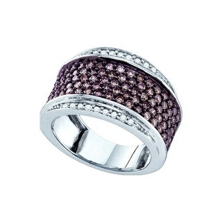 10kt White Gold Womens Round Cognac-brown Colored Diamond Cocktail Fashion Ring 1 & 1/2 Cttw - Brown