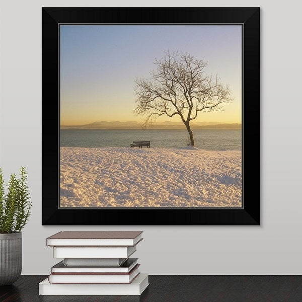 """Snowy winter sunset over the River Forth in Dalgety Bay."" Black Framed Print"