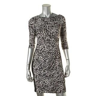 Lauren Ralph Lauren Womens Petites Matte Jersey Printed Wear to Work Dress - 2p
