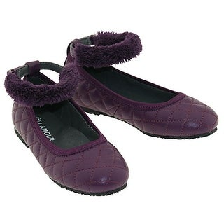 L'Amour Purple Quilt Ankle Strap Flat Shoes Toddler Little Girl 5-4