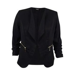 City Chic Women's Plus Size Ruched Zip-Pocket Blazer