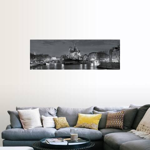 """""""Notre Dame and Eiffel Tower at dusk, Paris, Ile-de-France, France B"""" Poster Print"""
