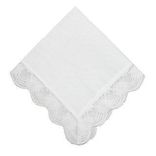 CTM® Women's Cotton and Regal Lace Handkerchief - White - One Size