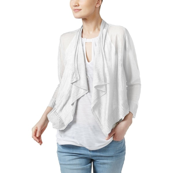 Inc International Concepts Petite's Cropped Open-Front Cardigan, Bright White (PP)