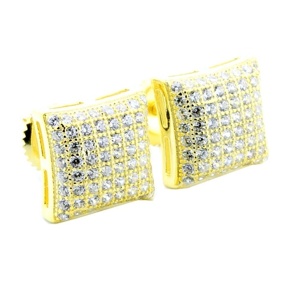 9mm Kite Earrings Yellow CZ Pave Set Screw Back Yellow Gold Tone ...