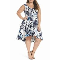 Eliza J Blue Womens Size 20W Plus Asymmetric Hem A-Line Dress