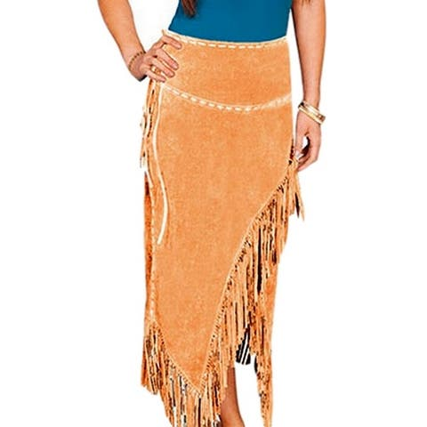 Scully Western Skirt Womens Long Leather Suede Tie Fringe