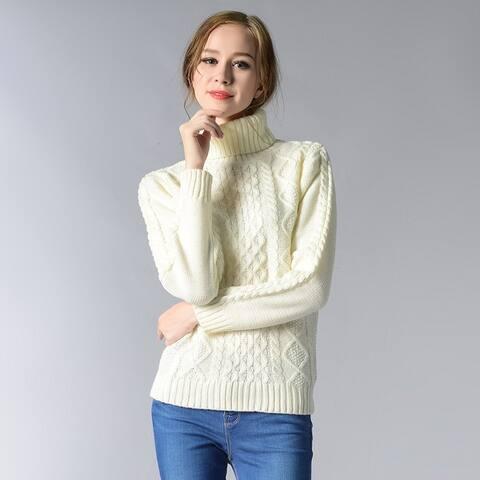 High Collar Long Sleeves Twisted Shirt Sweater Women